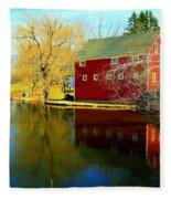 Reflection In Red Fleece Blanket
