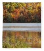 Reflection Of Autumn Colors In A Lake Fleece Blanket