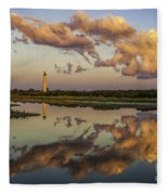 Reflection Of Clouds And Lighthouse Fleece Blanket