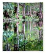 Reflection Of Cypress Trees Fleece Blanket