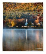 Reflection Of Little White Church With Fall Foliage Fleece Blanket