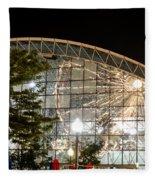 Reflection Of Navy Pier Ferris Wheel Fleece Blanket
