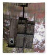 Reflection Of Wood Duck Box In Pond Fleece Blanket