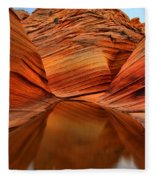 Reflections At The Wave Fleece Blanket