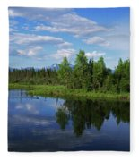 Reflections Lake Pioneer Peak Alaska Fleece Blanket