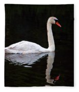 Reflections Of A Swimming Swan Fleece Blanket