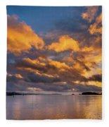 Reflections On Fire Sunset Fleece Blanket
