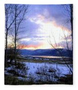 Reflections On Lake Okanagan Fleece Blanket