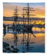 Reflectons On Sailing Ships Fleece Blanket
