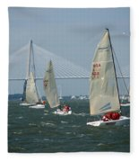 Regatta In Charleston Harbor Fleece Blanket
