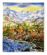Reindeer Herd At The Watering Hole. Fleece Blanket