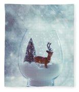 Reindeer In Glass Snow Globe  Fleece Blanket