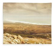 Remote Roads And Foggy Coastlines Fleece Blanket