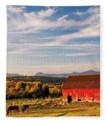 Red Barn Autumn Landscape Fleece Blanket