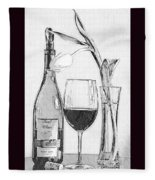 Reserved Table For One In Black And White Fleece Blanket