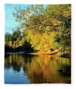 Yamhill River Reflections Fleece Blanket