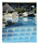 Resort With Swimming Pool Fleece Blanket