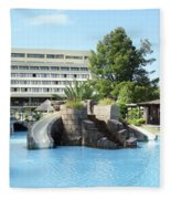 Resort With Swimming Pool Summer Vacation Scene Fleece Blanket