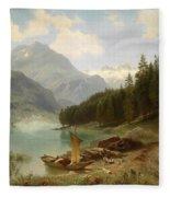 Resting By The Mountain Lake Fleece Blanket