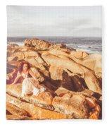 Resting On A Cliff Near The Ocean Fleece Blanket