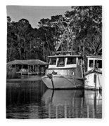 Resting Shrimp Boats Fleece Blanket