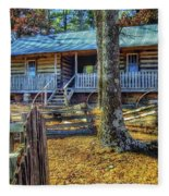 Restored Log Cabin Fleece Blanket