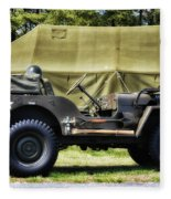 Restored Willys Jeep And Tent At Fort Miles Fleece Blanket