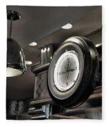 Retro 50's Clock Restaurant  Fleece Blanket