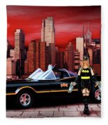 Retro Bat Woman Fleece Blanket