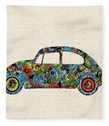 Retro Beetle Car 3 Fleece Blanket