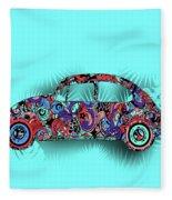 Retro Beetle Car 5 Fleece Blanket