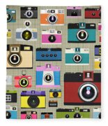 Retro Camera Pattern Fleece Blanket