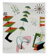 Retro Mid Century Modern Atomic Inspired Fleece Blanket