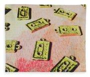 Retro Music Tapes Fleece Blanket