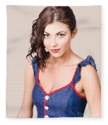 Retro Pin-up Girl In Blue Denim Dress Fleece Blanket