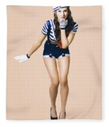 Retro Pinup Girl Blowing Travelling Departure Kiss Fleece Blanket