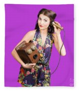 Retro Receptionist On Vintage Telephone. Call Us Fleece Blanket