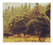 Retro Rural Tasmania Scene Fleece Blanket