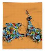 Retro Scooter 2 Fleece Blanket