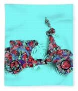 Retro Scooter 3 Fleece Blanket