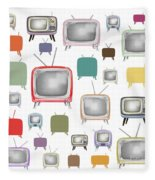 Retro T.v. Fleece Blanket