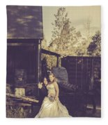Retro Wedding Couple At Australian Farm Cottage Fleece Blanket
