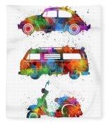 Retro Wheels Watercolor Fleece Blanket