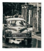 Retromobile. Morris Minor. Vintage Monochrome Fleece Blanket