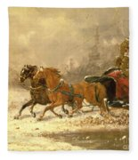 Returning Home In Winter Fleece Blanket