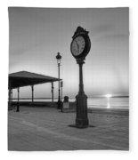 Revere Beach Clock At Sunrise Revere Ma Black And White Fleece Blanket