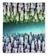 Reversible Futuristic Megalopolis City Fleece Blanket