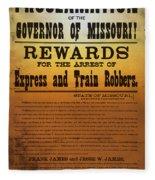 Reward For Frank And Jesse James Fleece Blanket