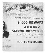 Reward Poster For The Arrest Of Oliver Perry Issued  Fleece Blanket