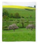 Rhineland-palatinate Summer Meadow With Cherry Trees Fleece Blanket